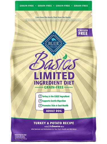 Blue Buffalo Basics Limited Ingredient Diet Grain Free Turkey & Potato Recipe Adult Dog Food 24 Lbs