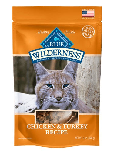 Blue Buffalo Wilderness Grain Free Chicken & Turkey Soft-Moist Cat Treats 2 Oz