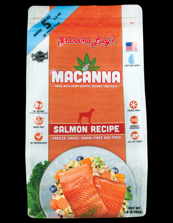 Grandma Lucys Macanna Freeze Dried Grain Free Salmon Recipe Dog Food 1 Lbs