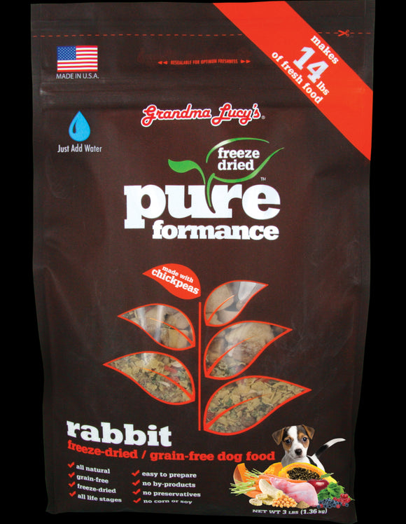 Grandma Lucys Pureformance Freeze Dried Grain Free Rabbit Recipe Dog Food 3 Lbs