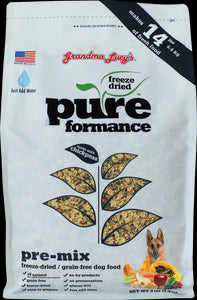 Grandma Lucys Pureformance Freeze Dried Grain Free Pre-Mix Recipe Dog Food 3 Lbs