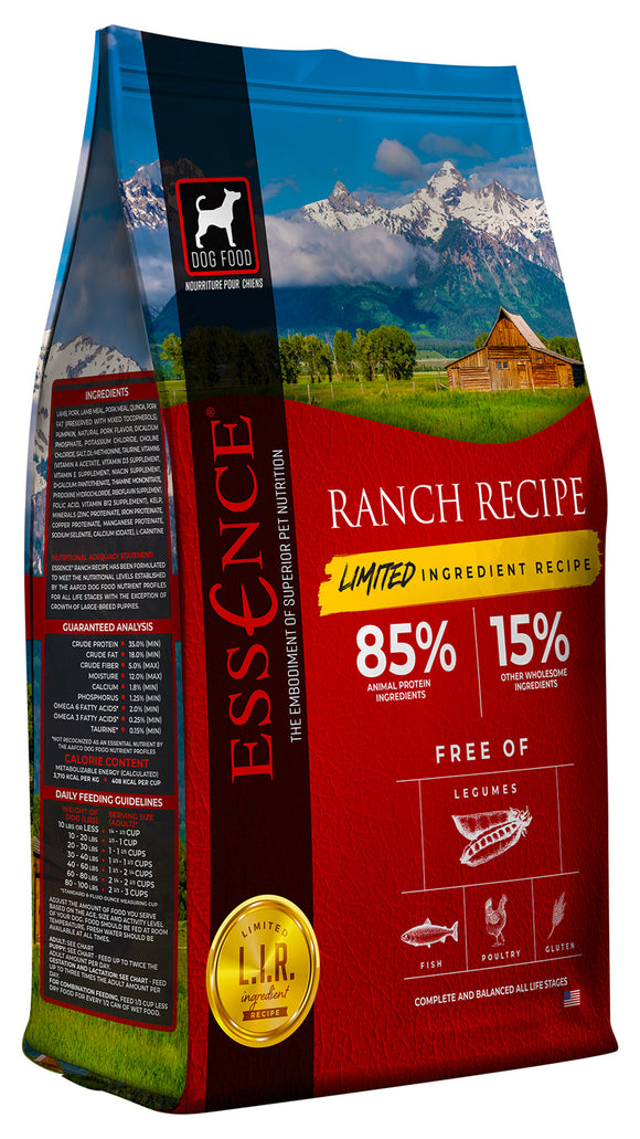 Essence Limited Ingredient Ranch Recipe Dog Dry Food 12.5 Lbs