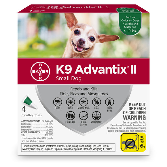 K9 Advantix II K9 Advantix II Fleas & Tick Treatment for Small Dog 4 Dose