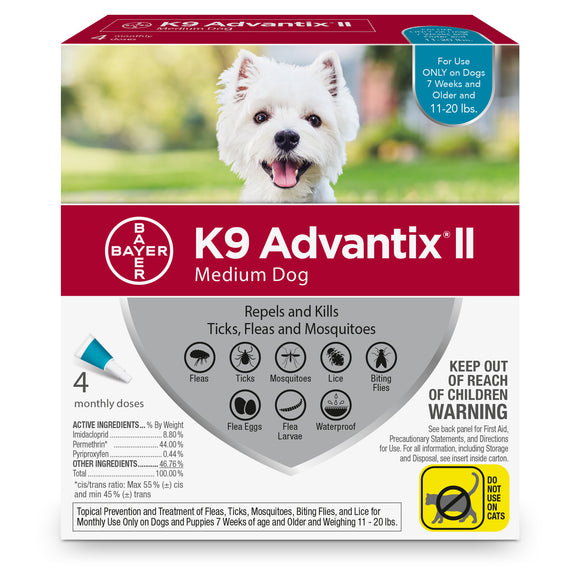 K9 Advantix II K9 Advantix II Fleas & Tick Treatment for Medium Dog 4 Dose