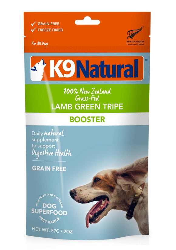 K9 Natural Grain Free Lamb Green Tripe Freeze Dried Booster Dog Supplement 2 Oz