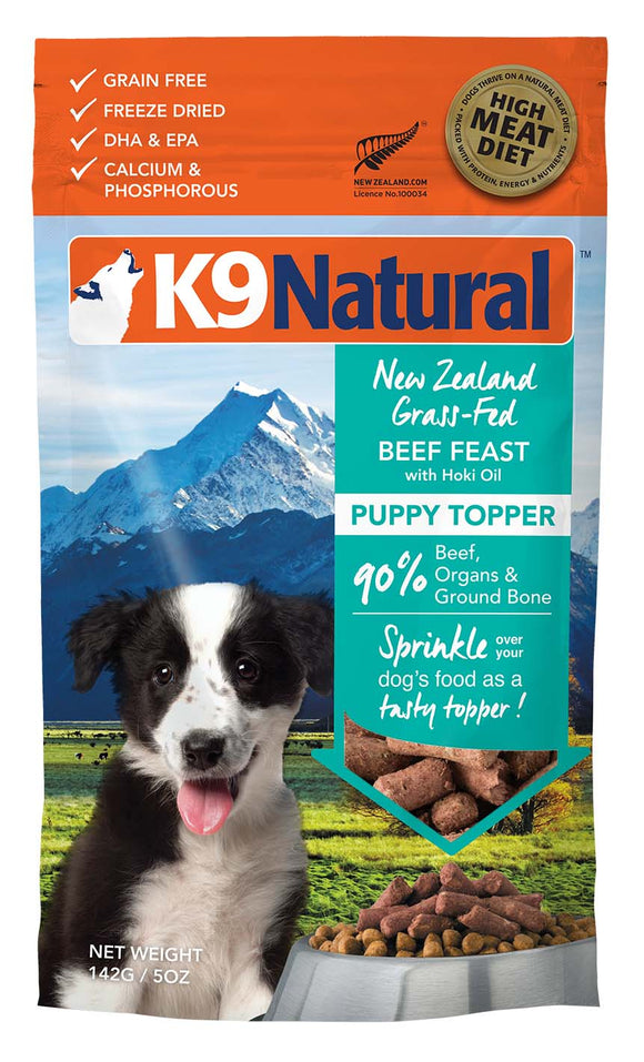 K9 Natural Grain Free Beef Feast with Hoki Oil Puppy Topper Freeze Dried Dog Food 5 Oz