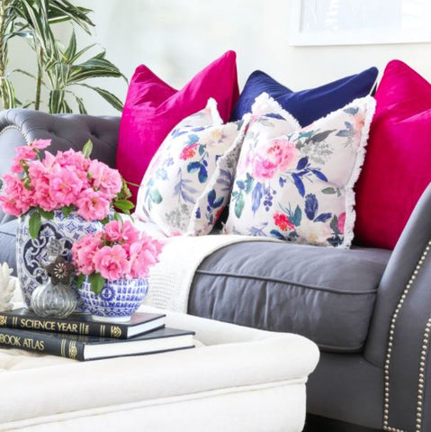 Floral cushions with Solid colours