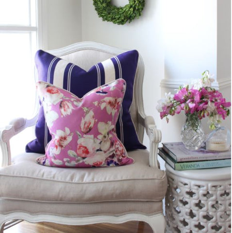Floral cushions with Striped cushions