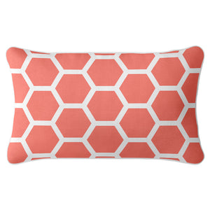 Honeycomb Cushion Cover - Coral