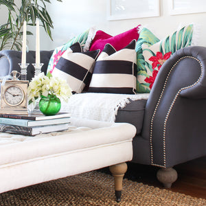 Classic Stripe Cushion Cover - Black