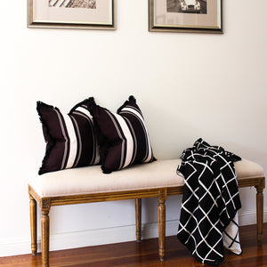 French Stripe Cushion Cover - Black