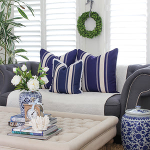 French Stripe Cushion Cover - Indigo