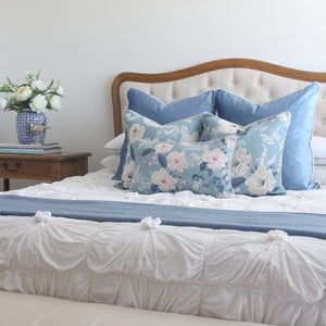 Duck Egg Blue Velvet and Peonies Cushion Covers Combo 2