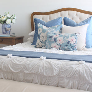 Duck Egg Blue Velvet and Peonies Cushion Covers Combo 3