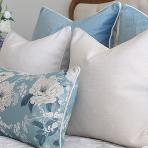 Sky Blue Velvet and Peonies Cushion Covers Combo 2