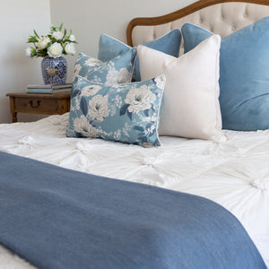 Sky Blue Velvet and Peonies Cushion Covers Combo 1