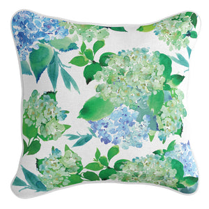 Mia Green and Blue Hydrangeas Cushion Cover