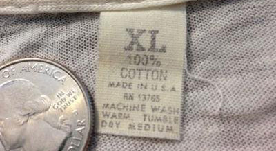 Fruit of The Loom Non-Branded Tag - Late 1960s / Early 70s