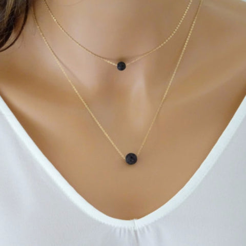 Multilayer Lava Stone Diffuser Necklace