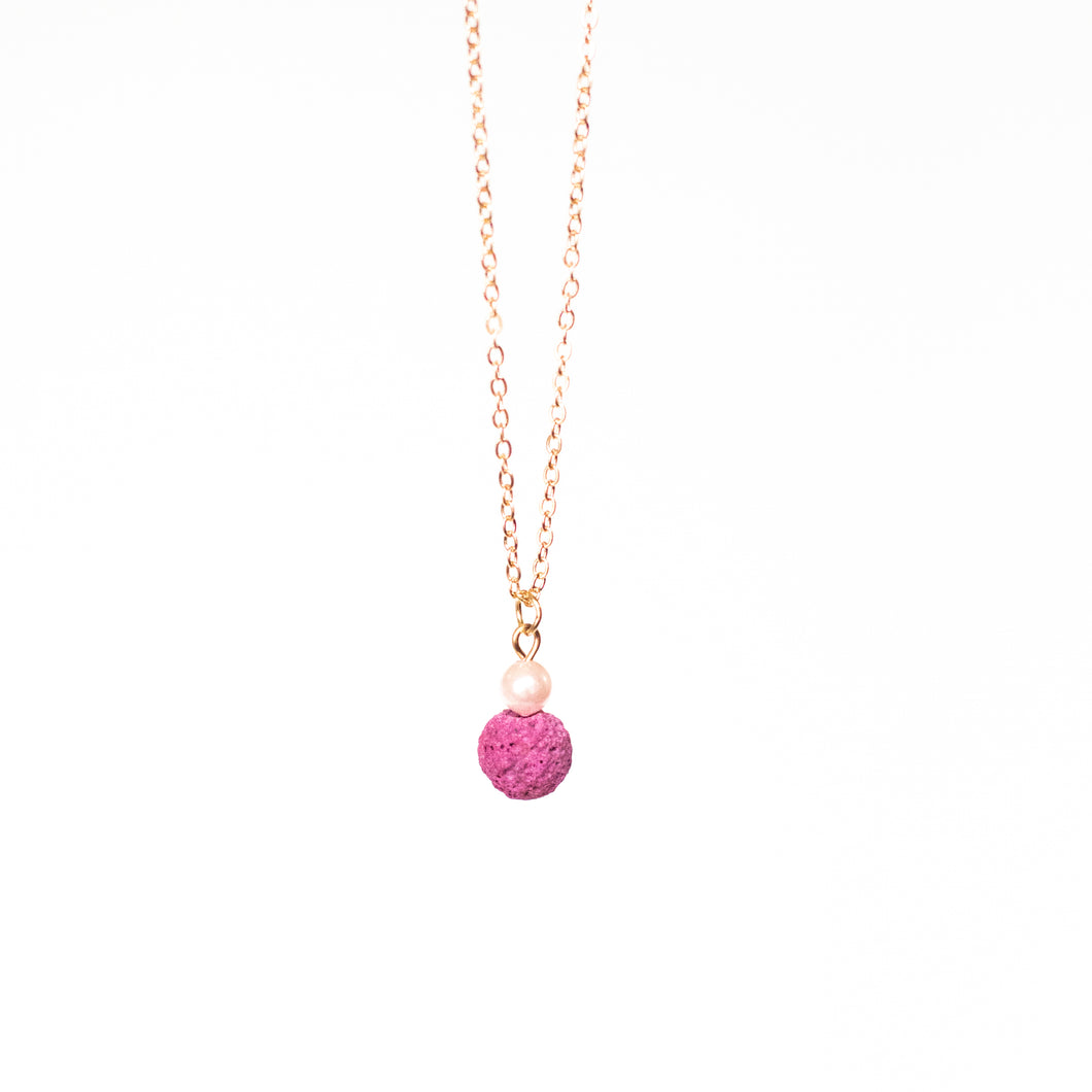 Pink Lava and Pearl Diffuser Necklace