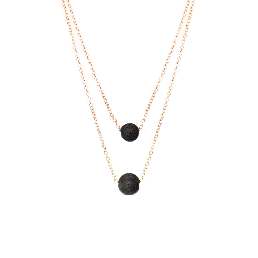 Two strand Lava Rock Necklace