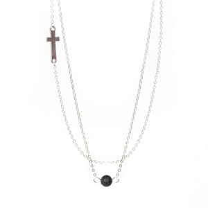 Cross and Lava Diffuser Necklace