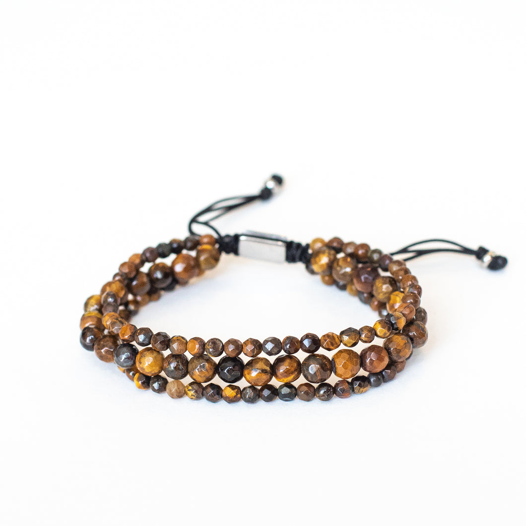 Tigers Eye Adjustable 3 strand Bracelet