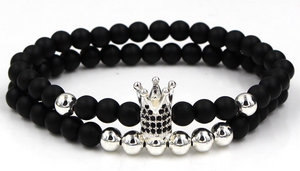 Fashion 2PCS/Set Couple His Hers Crown Bracelet