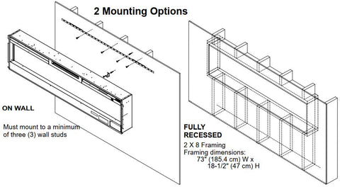 Dimplex Prism 74 inch Wall-Mount Linear Electric Fireplace