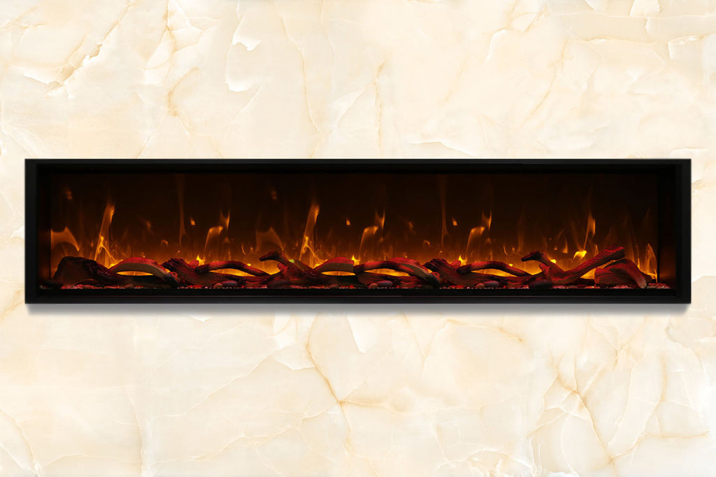 Amantii Symmetry 100'' Built In Fully Recessed Flush Mount Linear Electric Fireplace | Extra Tall Deep | SYM-100-XT | Electric Fireplaces Depot