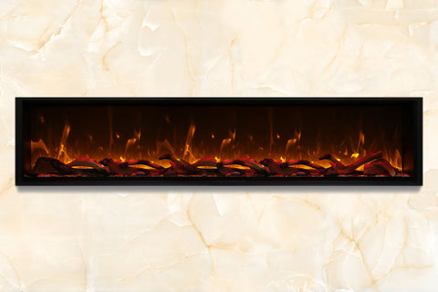 Image of Amantii Symmetry 100'' Built In Fully Recessed Flush Mount Linear Electric Fireplace | Extra Tall Deep | SYM-100-XT | Electric Fireplaces Depot