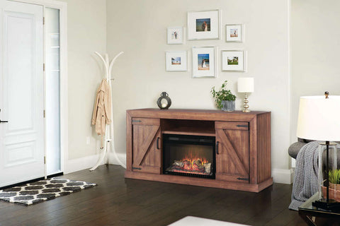 Image of Napoleon Lambert Electric Fireplace Media Console Rustic Wood & 27 inch Firebox | Entertainment Cabinet | NEFP27-5019RW | Electric Fireplaces Depot