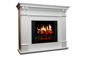 Magik Flame Trinity White Electric Fireplace Mantel | 28-inch HoloFlame Firebox Logs | Fireplace Cabinet MGK-TRINITY | Electric Fireplaces Depot