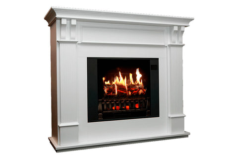 Image of Magik Flame Trinity White Electric Fireplace Mantel | 28-inch HoloFlame Firebox Logs | Fireplace Cabinet MGK-TRINITY | Electric Fireplaces Depot