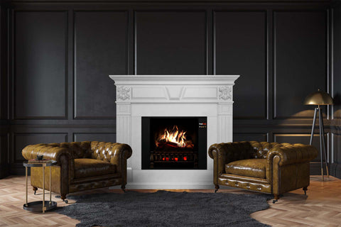 Image of Magik Flame Athena White Electric Fireplace Mantel | 28-inch HoloFlame Firebox Logs | Fireplace Cabinet | MGK-ATHENA | Electric Fireplaces Depot