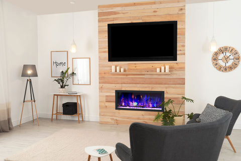 Dynasty Cascade 42-Inch Recessed Linear Electric Fireplace | Wall Mount Electric Fireplace | DY-BTX42 | Electric Fireplaces Depot