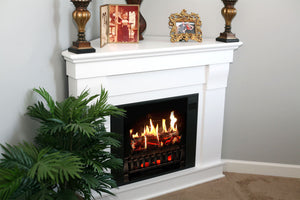 Magik Flame Churchill White Holographic Corner Electric Fireplace Mantel