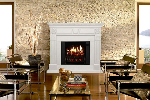 Magik Flame Athena White Electric Fireplace Mantel | 28-inch HoloFlame Firebox Logs | Fireplace Cabinet | MGK-ATHENA | Electric Fireplaces Depot