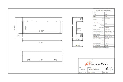Image of Amantii Panorama 50 inch 3-Sided Built-in Electric Fireplace - Heater - Dimensions - Electric Fireplaces Depot