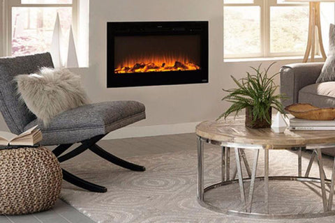 Image of Touchstone Sideline Black 50'' Built-in Electric Fireplace - Heater - 80004 - Electric Fireplaces Depot