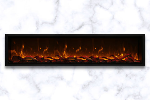 Image of Amantii Symmetry 88'' Built In Fully Recessed Flush Mount Linear Electric Fireplace | Extra Tall Deep | SYM-88-XT | Electric Fireplaces Depot