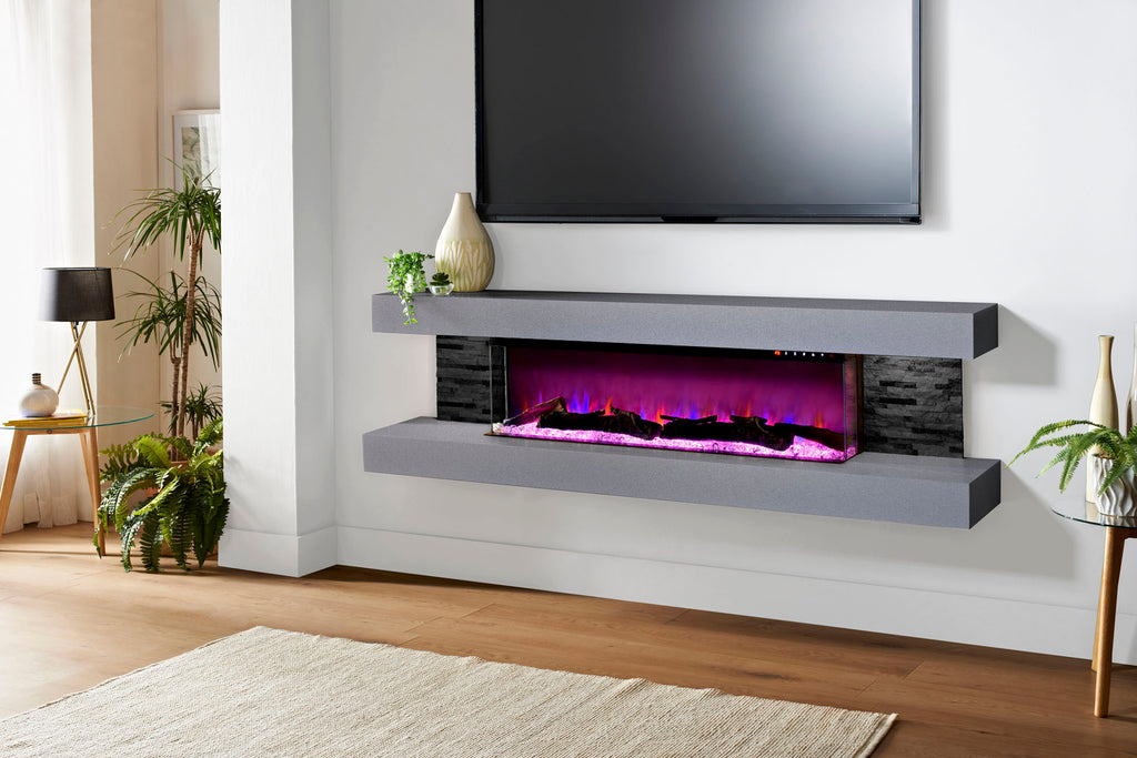 Evolution Fires Vegas 72 inch Wall Mount Electric Fireplace Carrara Grey | Black Side Panels | EFV72BTC | Electric Fireplaces Depot