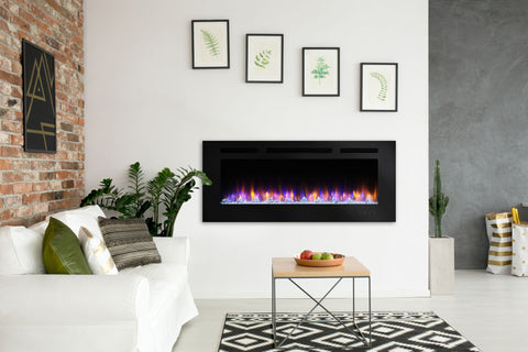 Hearth & Home SimpliFire Allusion 48 Inch Wall Mount Recessed Linear Electric Fireplace Insert | SF-ALL48-BK | Electric Fireplaces Depot