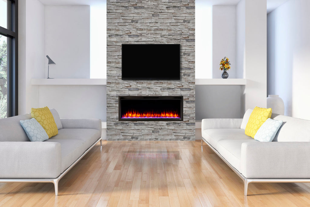 Hearth & Home SimpliFire Allusion Platinum 50 inch Wall Mount Recessed Linear Electric Fireplace Insert | SF-ALLP50-BK | Electric Fireplaces Depot