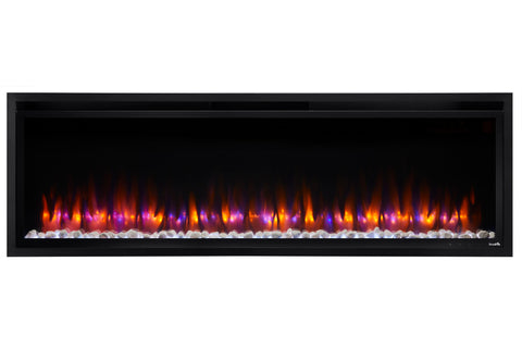 Hearth & Home SimpliFire Allusion Platinum 60 inch Wall Mount Recessed Linear Electric Fireplace Insert | SF-ALLP60-BK | Electric Fireplaces Depot