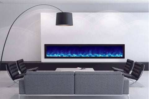 Image of Amantii Panorama 88 inch Slim Built-in Electric Fireplace - Heater - BI-88-SLIM-OD - Electric Fireplaces Depot