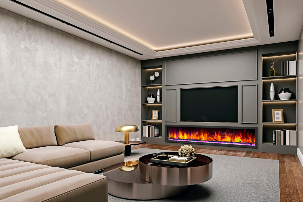 Dynasty Cascade 82 Inch Recessed Linear Electric Fireplace | DY-BTX82 | Electric Fireplaces Depot