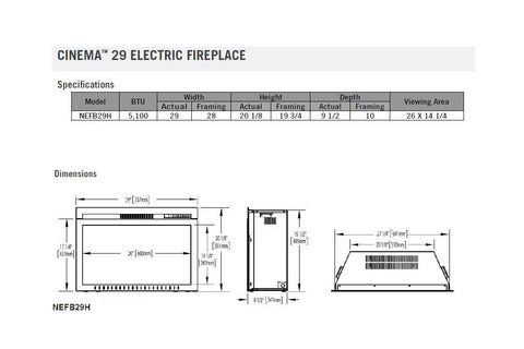 Image of Napoleon Clearion 50 inch See Through Built in Electric Fireplace - Heater - Dimensions - Electric Fireplaces Depot