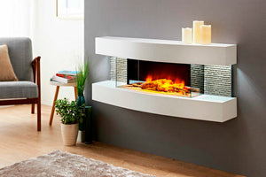 Evolution Fires Miami Curve 48 inch Wall Mount Electric Fireplace | Gloss White | EFMCW | Electric Fireplaces Depot