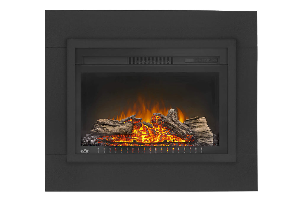 Napoleon Cinema 27 Inch Electric Fireplace Insert w/ Trim Kit- Log Series - Firebox Insert - Heater - NEFB27H-3A - Electric Fireplaces Depot